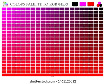 Color palette mixer 3 color (Black , Pink and Red) RGB mode in composition shade chart conform to RGB and HEX description guide on white background of illustrator