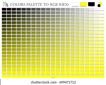 Color palette mixer 3 color (Black , White and Yellow) RGB mode in composition shade chart conform to RGB and HEX description guide on white background of illustrator