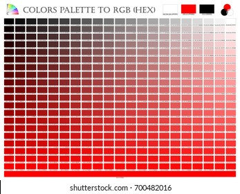 Color palette mixer 3 color (Black , White and Red) RGB mode in composition shade chart conform to RGB and HEX description guide on white background of illustrator