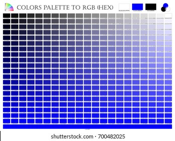Color palette mixer 3 color (Black , White and Blue) RGB mode in composition shade chart conform to RGB and HEX description guide on white background of illustrator