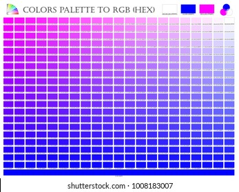 Color palette mixer 3 color (Pink , White and Blue) R G B mode in composition shade chart conform to RGB and HEX description guide on white background of illustrator