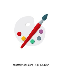 Color palette and paint brush icon cartoon vector flat design on white background
