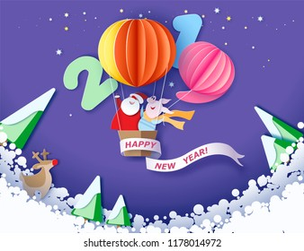 Color paper cut design and craft winter landscape with tree, Santa Claus and pig. Holiday nature 2019 and christmas design. Vector illustration. Merry Christmas card.