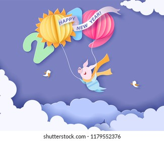 Color paper cut design and craft winter landscape with Happy pig flying with air balloons shaped like digits. Holiday 2019 year and christmas design. Vector illustration. New Year card.