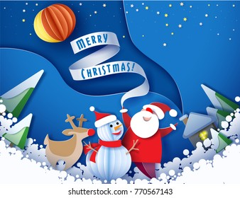 Color paper cut design and craft winter landscape with evergreen tree, house with smoke from chimney, stars, Santa Claus and snowman. Vector illustration. Merry Christmas card.