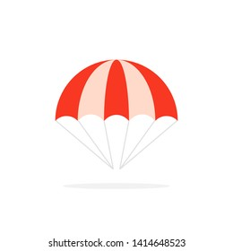 color parachute isolated on white. concept of flying in the sky. flat cartoon style trend modern logo graphic design element