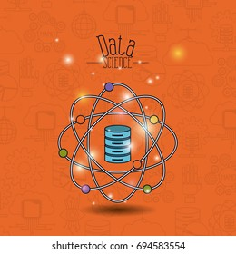 color pattern background of future tech with data science atom around of server file vector illustration