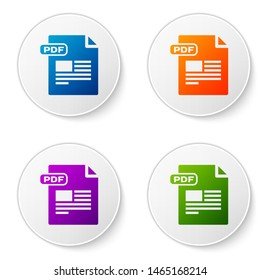 Color PDF file document. Download pdf button icon isolated on white background. PDF file symbol. Set icons in circle buttons. Vector Illustration