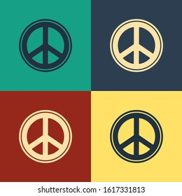 Color Peace icon isolated on color background. Hippie symbol of peace. Vintage style drawing. Vector Illustration