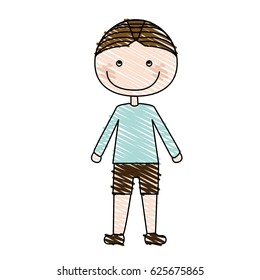 color pencil drawing of caricature boy with t-shirt and shorts vector illustration