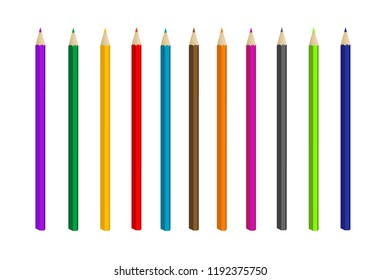 Color pencil. Isolated. Vector.