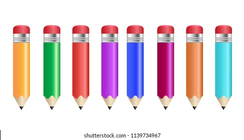 Color pencils isolated on white background. Vector illustration.