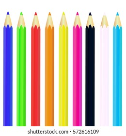 Color pencils isolated on white background.Beautiful color pencils.Color pencils for drawing.