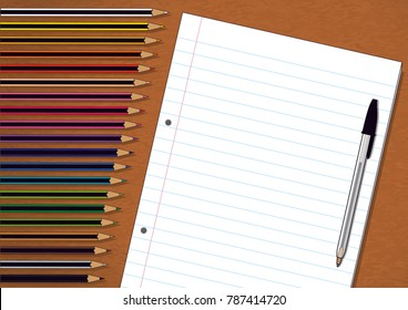 Color Pencils, Pen and Exam Pad Notebook Paper on Brown Wooden Background