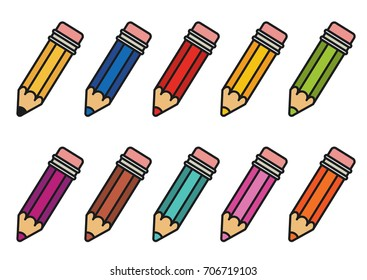 Color pencils set. Isolated vector illustration on white background