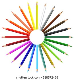 Color pencils in the shape of a sun and in rainbow colors, isolated on white background. Vector illustration