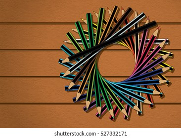 Color Pencils Stacked in Circle on Wood Texture Background