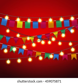 Color pennant bunting and Warm yellow Lights bulb at black strings on red background. celebration event. vector illustration