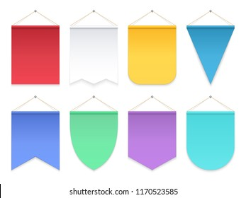 Color pennant. Triangle hanging banners and flags. Fabric football team pennants vector template. Illustration of colored banner vertical, empty blank for advertising or symbol