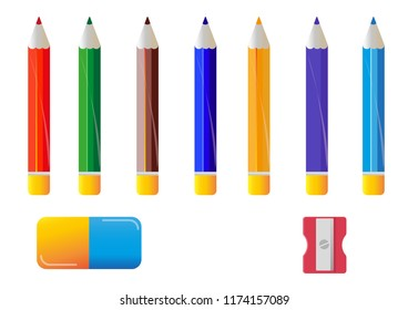 color pens eraser sharpener red blue green school equipment play game animation material