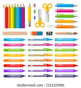 Color pens pencils markers and crayons. Vector illustration for education design.