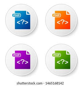 Color PHP file document. Download php button icon isolated on white background. PHP file symbol. Set icons in circle buttons. Vector Illustration