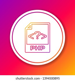 Color PHP file document icon. Download php button line icon isolated on color background. PHP file symbol. Circle white button. Vector Illustration