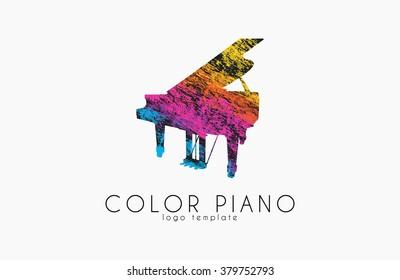 color piano logo. rainbow music logo. creative logo. piano in grunge style