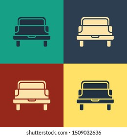 Color Pickup truck icon isolated on color background. Vintage style drawing. Vector Illustration