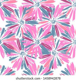 Color pink artsy chamomily in boho style pattern background. Abstract vector backdrop.