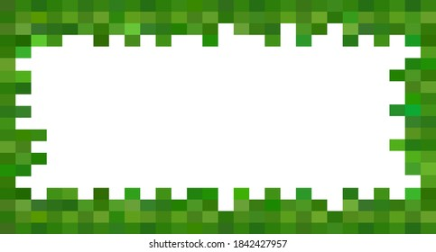 Color pixel frame, background, greeting card. Pixel art made in the style of eight-bit pixel games, drawn in a flat style. Vector illustration