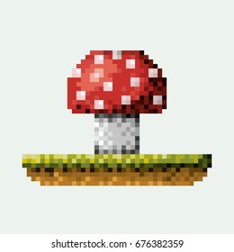 color pixelated mushroom in meadow vector illustration