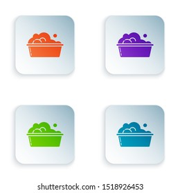 Color Plastic basin with soap suds icon isolated on white background. Bowl with water. Washing clothes, cleaning equipment. Set icons in colorful square buttons. Vector Illustration