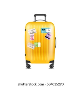 Color plastic travel bag vector illustration. Object isolated on white