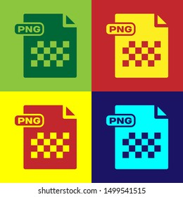 Color PNG file document. Download png button icon isolated on color background. PNG file symbol.  Vector Illustration