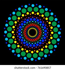 Color points on black background. Colorful circle of dots of different sizes. Central element. Round Ornament Pattern.