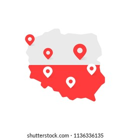 color poland map with geo tag. concept of image of polish map with geotags for country travel or study. flat minimal cartoon style trend modern simple logotype graphic art design element