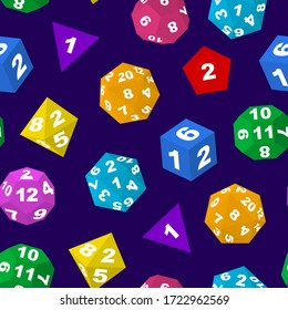 Color Polyhedron Dice with Numbers Seamless Pattern Background for Casino Gambling and Board Game. Vector illustration of Polyhedral Dices