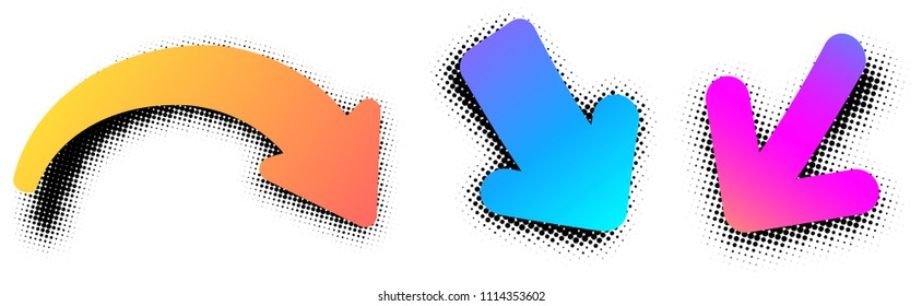 Color pop art retro arrow signs isolated on white background. Vector paper illustration.
