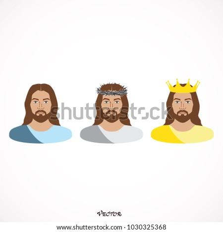 Color Portrait Jesus Christ Nazareth Vector Stock Vector (Royalty ...