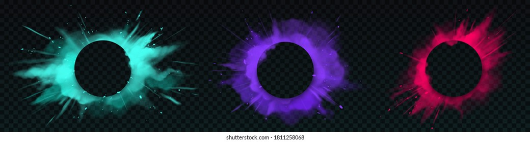 Color powder explosions with circle banner. Splash of paint dust with particles. Vector realistic clouds of colorful powder, burst effect with copy space for text isolated on transparent background