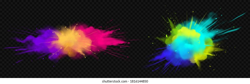 Color powder explosions isolated on transparent background. Splash of paint dust with particles. Vector realistic set of burst effect of colorful powder clouds