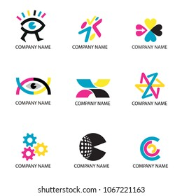 Color Print, cmyk colors icons. Set of color print icons usefull for logos.Vector available.