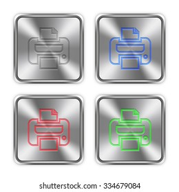 Color print icons engraved in glossy steel push buttons. Well organized layer structure, color swatches and graphic styles.