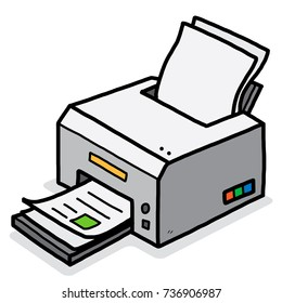 color printer / cartoon vector and illustration, hand drawn style, isolated on white background.