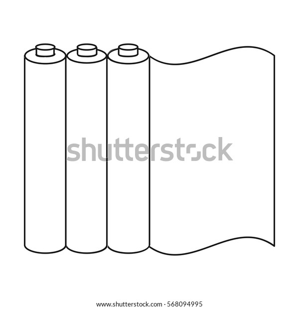 Color printing paper in outline style isolated on white background. Typography symbol stock vector illustration.