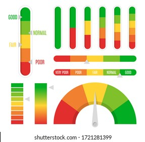 Color progress, level indicator set vector isolated. High and low rating. Gauge of the rating. From red to green color. Progress bar.