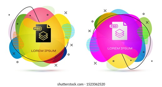 Color PSD file document. Download psd button icon isolated on white background. PSD file symbol. Abstract banner with liquid shapes. Vector Illustration