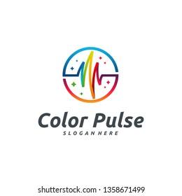 Color Pulse logo designs template, healthcare logo symbol vector
