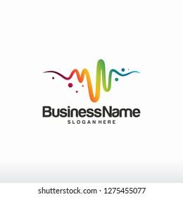 Color Pulse logo designs tmeplate, Colorful Pulse Beat logo symbol